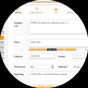 Legen Sie fest, warum Sie telefonisch derzeit nicht erreichbar sind. Einfach und individuell im Mobile Office 360° Tool einstellbar.