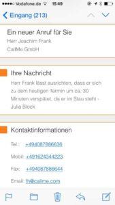 Anrufbenachrichtigung - Mobile Office Telefonservice
